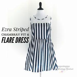 Ezra Striped Chambray Fit & Flare Dress